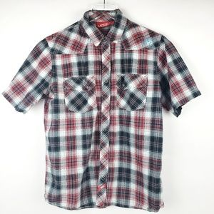 Men's Vans plaid short sleeve button up shirt S